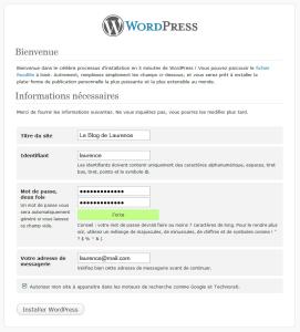 créer compte admin wordpress