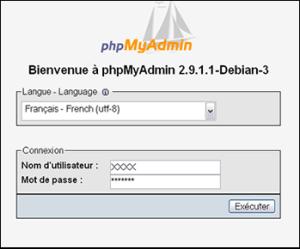 phpmyadmin connexion