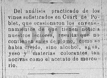 """Noticia sobre """"envenenamientos en Quart"""", 18 de octubre 1885"""
