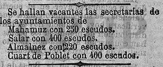 Noticia sobre la vacante en la secretaria del ayuntamiento de Quart (20 mayo 1867)
