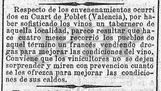 """Noticia sobre """"envenenamientos en Quart"""", 27 de septiembre 1885"""
