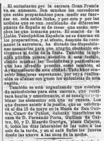 Campeonato de la Unión Velopédica española pasa por Quart (abril 1904)