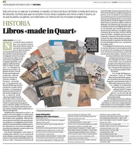 Artículo en el Extra-Quart de Poblet de Levante-EMV. (4sept.2015) A.Moreno/T.García