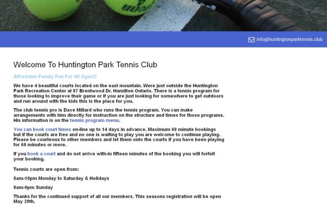 Huntington Park Tennis club website screenshot