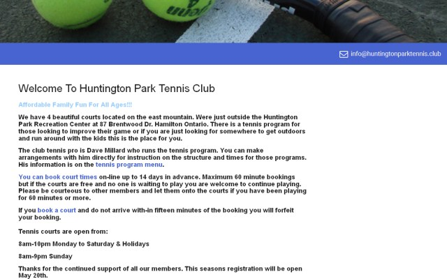 Huntington Park Tennis club website screenshot