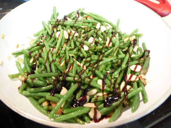 Green beans with balsamic reduction and toasted almonds.