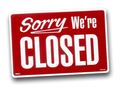 image of sign that reads sorry were closed