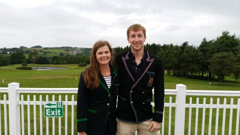 Jason Armstrong and Ellie Holmes in the Queen's captains blazers