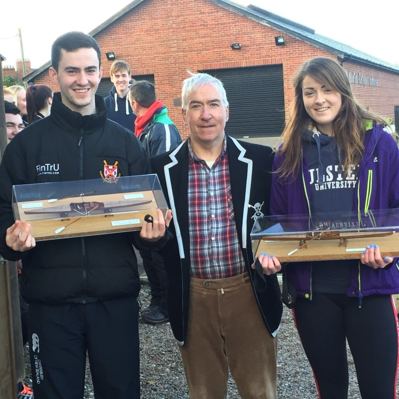 Michael joined by Katie Shirlow from Bann RC, as fastest Men's and Women's Scullers.