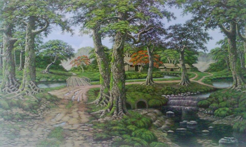 Lukisan Pemandangan Desa  NATURALISM PAINTING