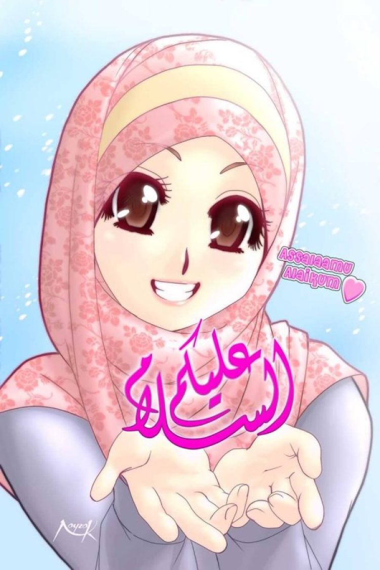 Koleksi Gambar Kartun Muslimah Ceria Background Wallpaper