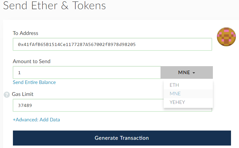 QUE.com.HOWTO.Create.Your.Own.Token.02.MNE.Send1MNEpayment