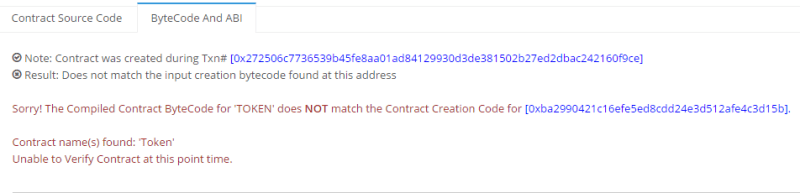QUE.com.HOWTO.Create.Your.Own.Token.02.MNE.SmartContract.QUE.TokenVerification.error