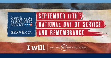 September 11th National Day of Service and Remembrance.  Join Us for a Moment of Silence