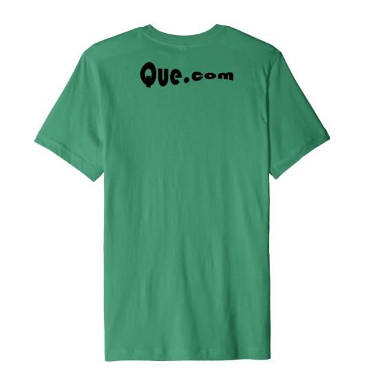 QUE.com,TShirt.Green.back
