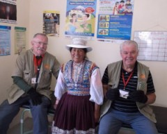 "Dr. Jim Gallagher, Quechua woman patient and Richard ""Dick"" Miller"