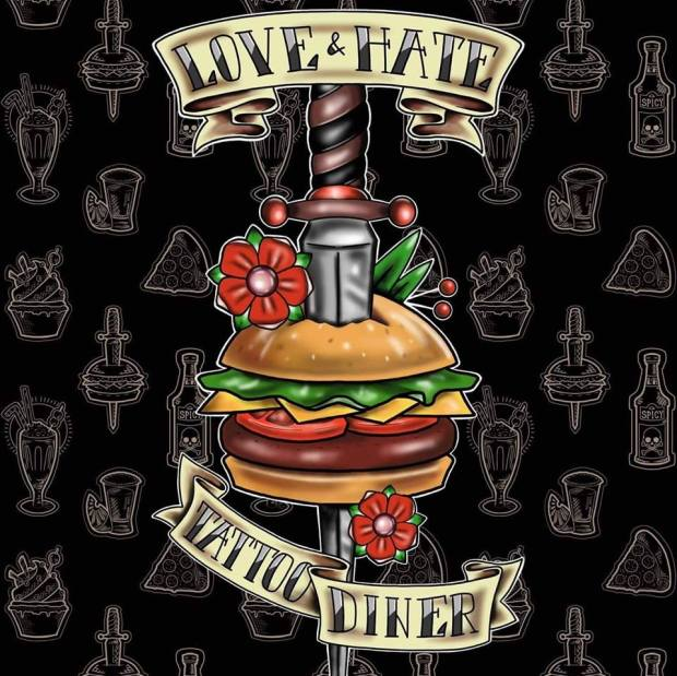 Logo love and hate tattoo diner
