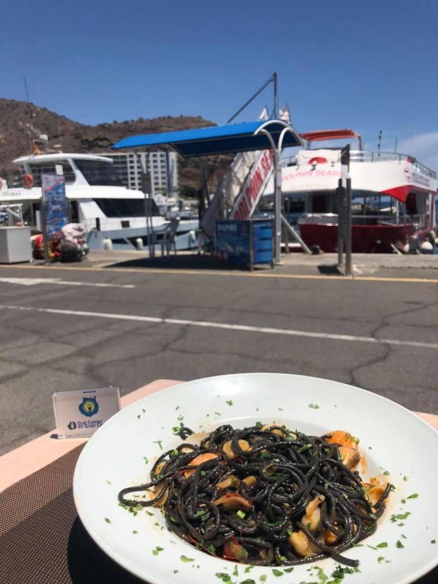 pasta negra frutas del mar grill costa mar puerto rico cocina mediterránea