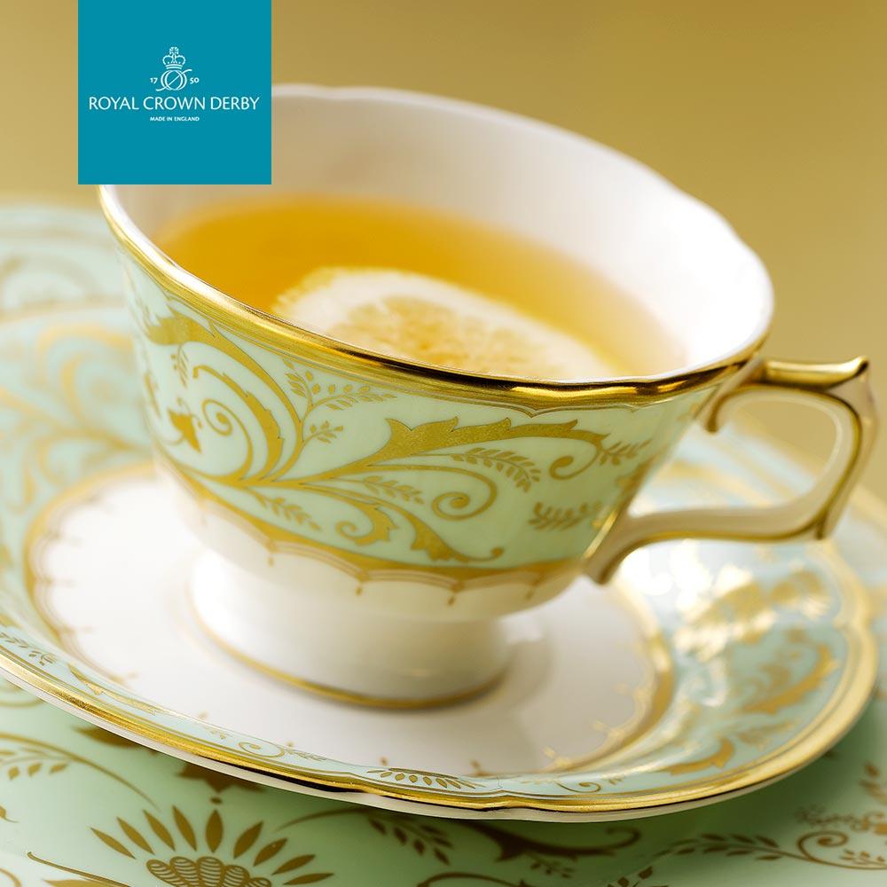 英國Royal Crown Derby-達利莊園系列-225ml咖啡花茶杯盤組-原裝彩盒