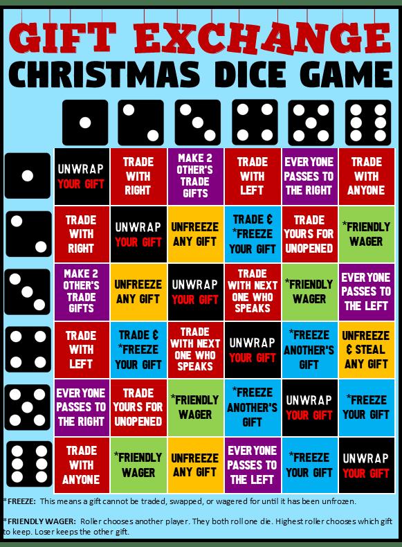 Dice Christmas Gift Exchange : christmas, exchange, Christmas, Exchange, Printable!