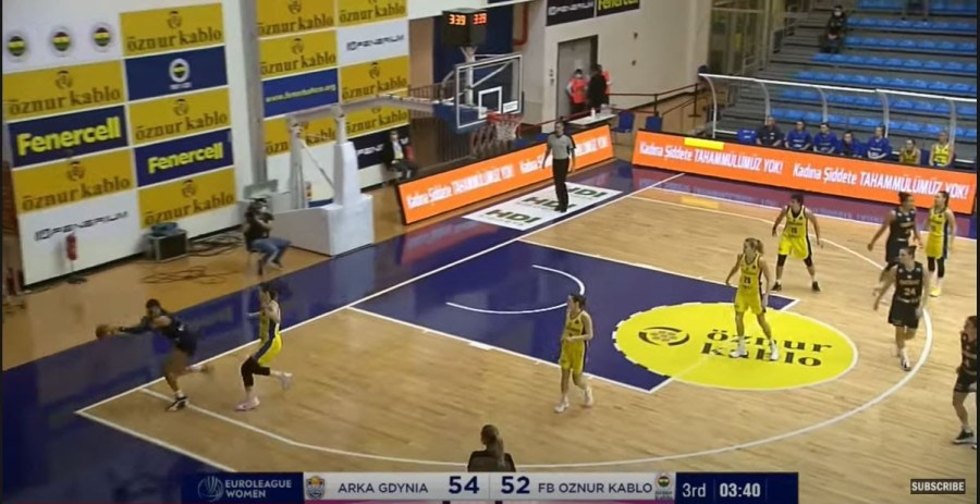 Satou Sabally runs half of the length of the baseline to grab a teammates missed shot in EuroLeague play for Fenerbahc
