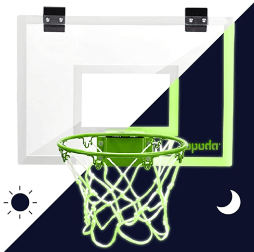 Check out the coolest glow in the dark mini basketball hoop, which is a great gift