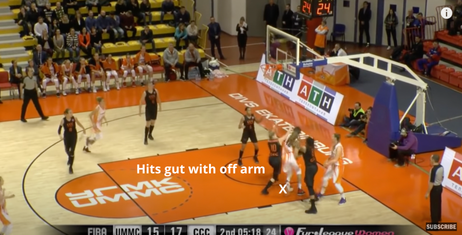 Brittney Griner hits the defense in the gut