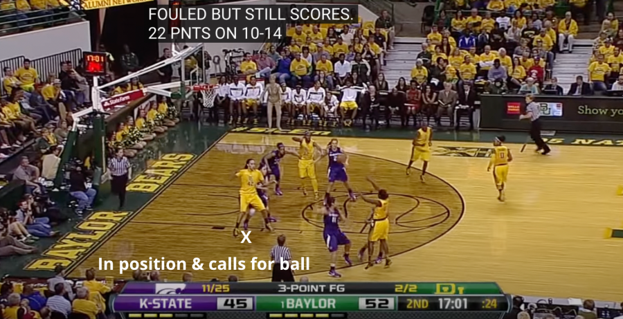 Brittney Griner calls for the ball with her feet planted