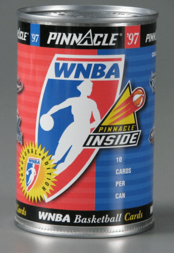 WNBA trading cards in a can