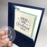 Corner fold hand stamped christmas card using stampin