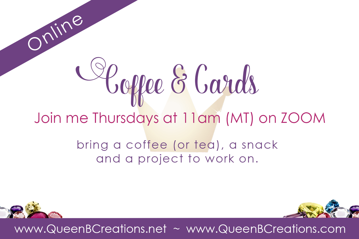 Coffee & Cards Event on Zoom - Come be crafty and social.