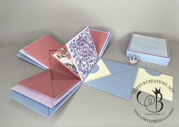 Stampin' Up! Hydrangea Hill Exploding Box Photo Album by Lisa Ann Bernard of Queen B Creations