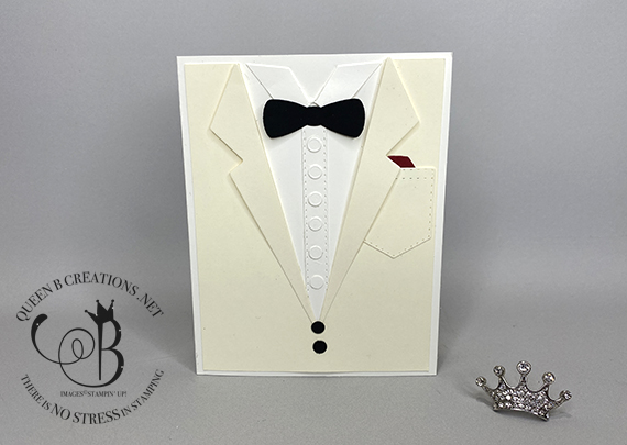 Stampin' Up! Suit Dies Ivory Dinner Coat card by Lisa Ann Bernard of Queen B Creations