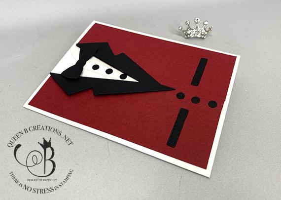 Stampin' Up! Suit Dies Red Dinner Coat card by Lisa Ann Bernard of Queen B Creations