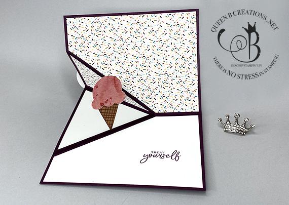 Stampin' Up! Sweet Ice Cream Corner Happy Birthday Fun Fold card by Lisa Ann Bernard of Queen B Creations