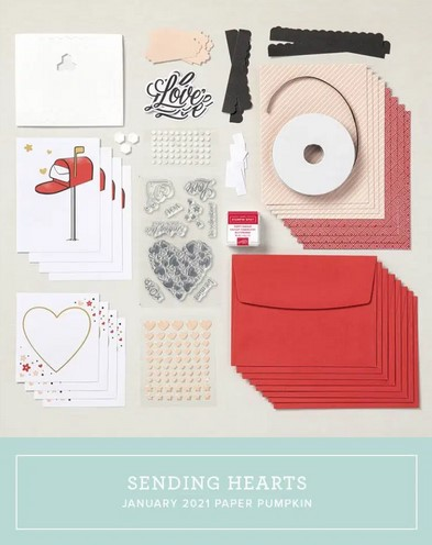 Stampin' Up! Sending Hearts January 2021 Paper Pumpkin alternatives & stamp case insert by Lisa Ann Bernard of Queen B Creations