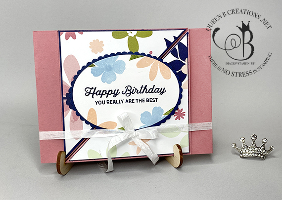 Stampin' Up! Amazing You Love Blooms diagonal gate fold card by Lisa Ann Bernard of Queen B Creations