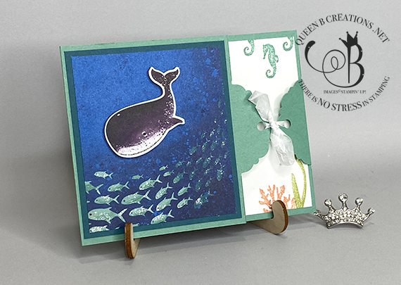 Stampin' Up! Whale Done Whale of a Time handmade thank you card landscape by Lisa Ann Bernard of Queen B Creations