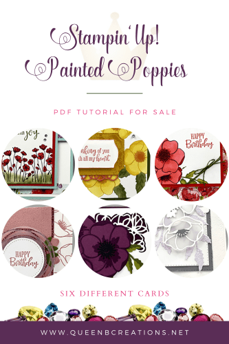 Stampin' Up! Painted Poppies PDF Tutorial For Sale - 6 cards
