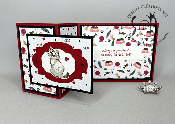 Stampin' Up! Pampered Pets zfold cat sympathy card by Lisa Ann Bernard of Queen B Creations