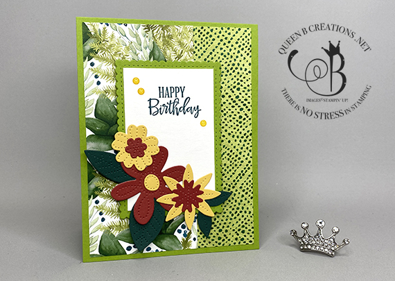 Stampin' Up! Peaceful Moments Pierced Blooms Dies birthday card by Lisa Ann Bernard of Queen B Creations