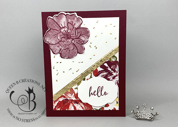 Stampin' Up! To a Wild Rose Easy Gilded Leafing Technique by Lisa Ann Bernard of Queen B Creations