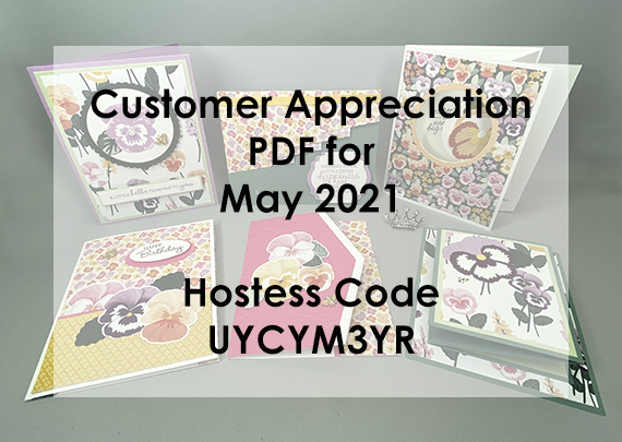 Stampin' Up! Pansy Patch / Pansy Petals Customer Appreciate PDF Tutorials / Instructions for 6 cards for FREE with a $30 order from Queen B Creations