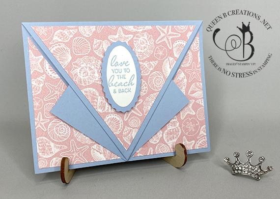 Stampin' Up! Friends Are Like Seashells arrow fold fun fold card by Lisa Ann Bernard of Queen B Creations