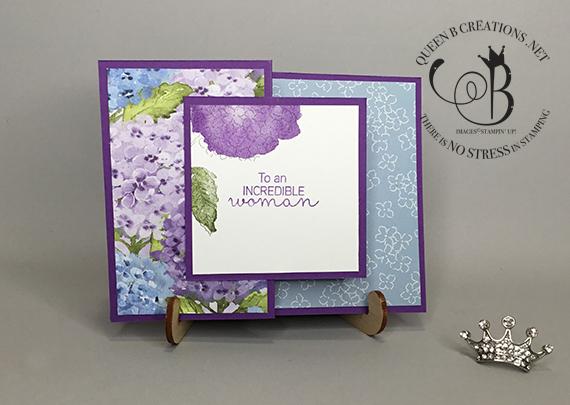Stampin' Up! Hydrangea Haven double z fold card by Lisa Ann Bernard of Queen B Creations