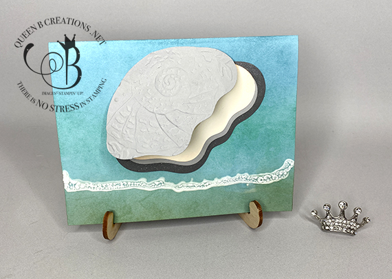 Stampin' Up! Layering Diorama Dies Clam with Pearl on the beach by Lisa Ann Bernard of Queen B Creations