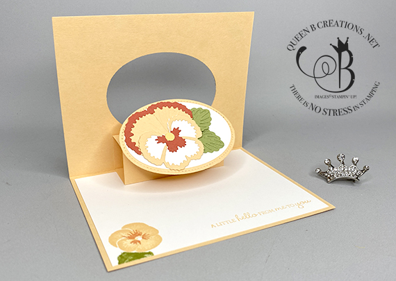 Stampin' Up! Pansy Patch Pop Up and Flip card Pale Papaya by Lisa Ann Bernard of Queen B Creations
