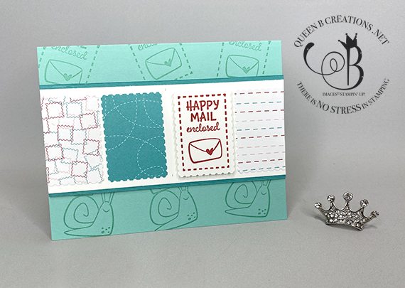 Stampin' Up! Snail Mail Postage Stamp Punch card by Lisa Ann Bernard of Queen B Creations