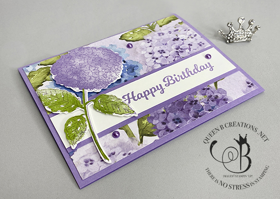 Stampin' Up! Hydrangea Haven Lighthearted Lines birthday card by Lisa Ann Bernard of Queen B Creations
