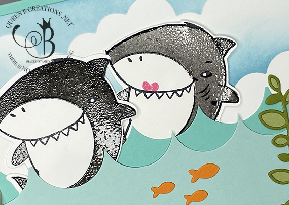 Stampin' Up! Shark Frenzy Fun Fold Interior Pop Up Card by Lisa Ann Bernard of Queen B Creations